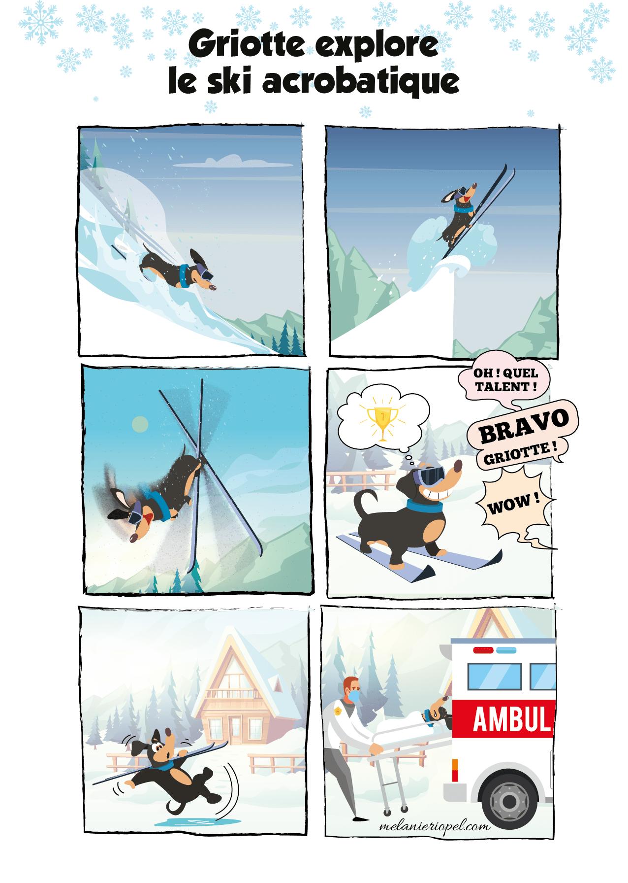 BD d'un teckel qui fait du ski acrobatique comme une championne puis glisse sur de la glace et part en ambulance