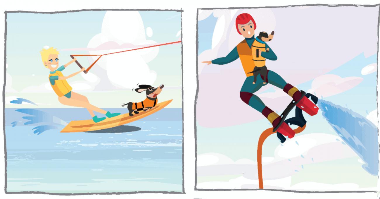 Bande dessinée teckel qui fait du ski nautique
